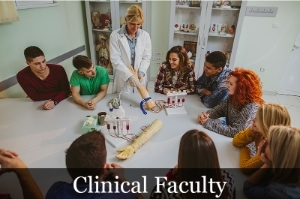 Clinical Faculty image showing an instructor using health tools to teach students.